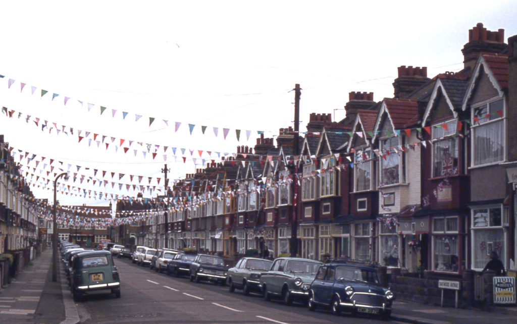 Queen's 25th Jubilee decorations in Oakwood Avenue, Mitcham, Surrey CR4.