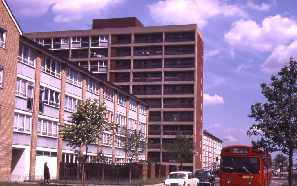 Phipps Bridge Estate of 1960s, Mitcham, Surrey CR4. Completed c. 1968. 4 of the 5 tower blocks were demolished in the 1990s/early 2000s.