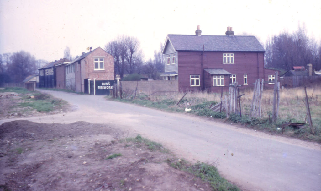 Acacia Road entrance to Pain's Firework Factory, Mitcham, Surrey CR4. James Pain & Sons Albany Firework Manufactury. established in 1872. Production ceased in 1965. In 1966 the derelict land to the left had just been vacated by Mizen Brothers. market gardeners.
