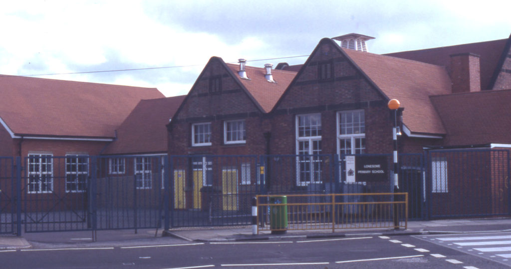 Lonesome Primary School. Grove Road, Mitcham, Surrey CR4. Opened in 1903.