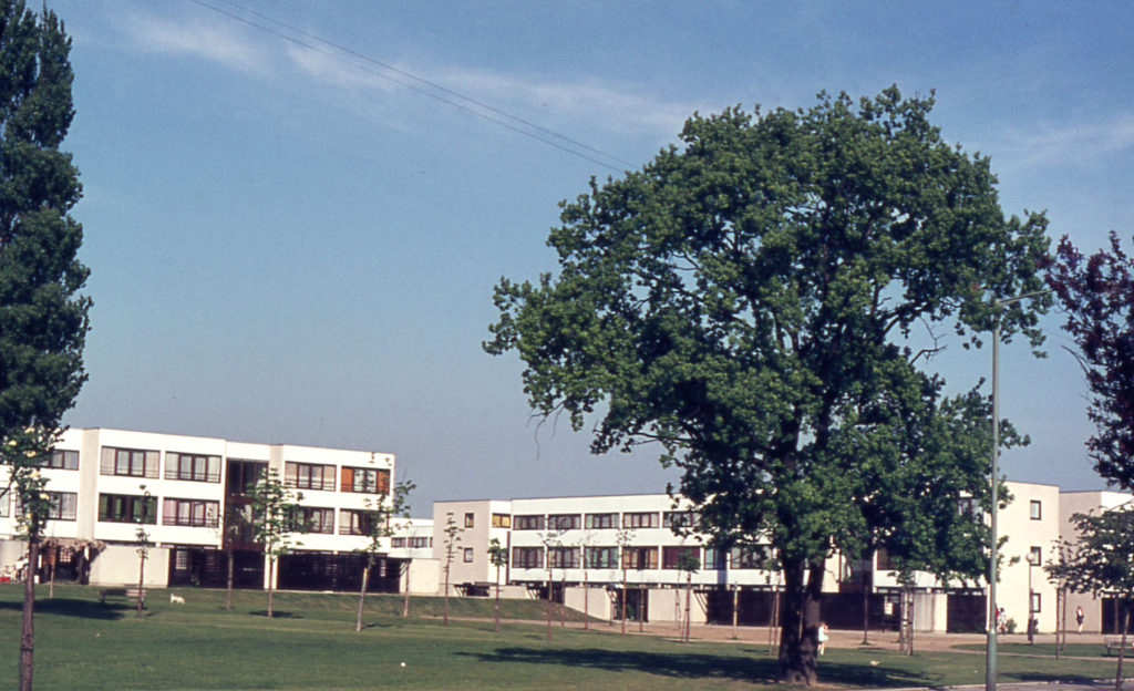 Council Housing in Wide Way, Pollards Hill, Mitcham, Surrey CR4. Built c. 1970.