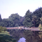 The Wandle in Ravensbury Park, Mitcham, Surrey CR4. Looking downstream (west) towards site of Manor House. The park formed part of the Bidder estate; the park was opened in May 1930.