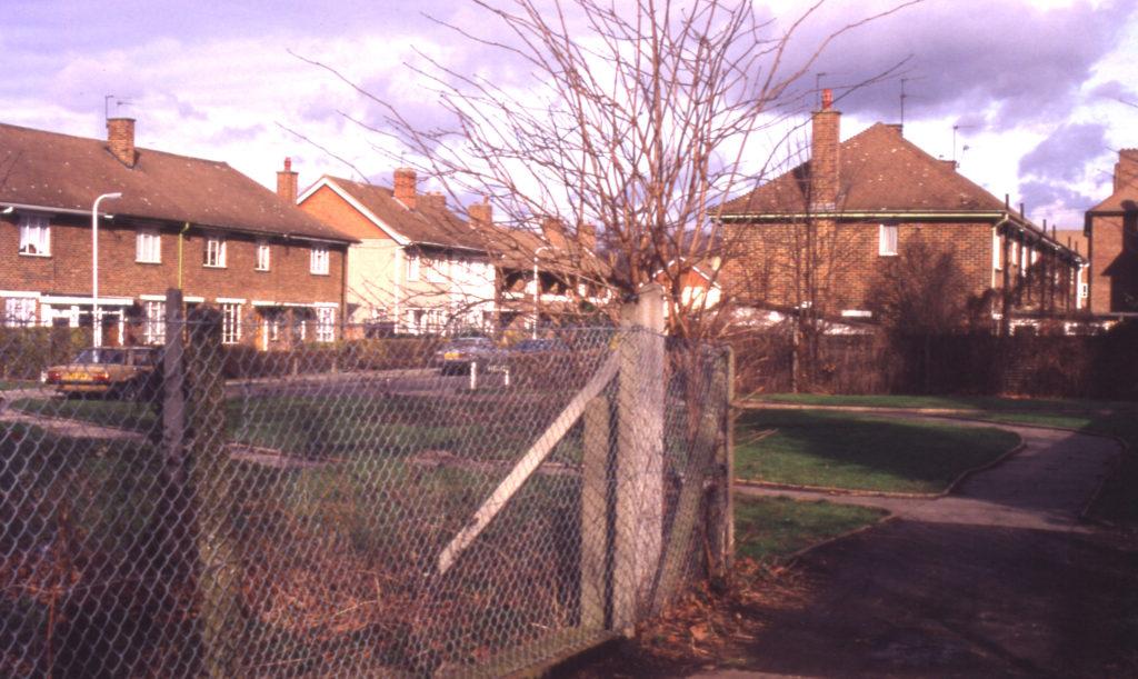 Hengelo Gardens, Mitcham, Surrey CR4. Site of old Ravensbury print works.