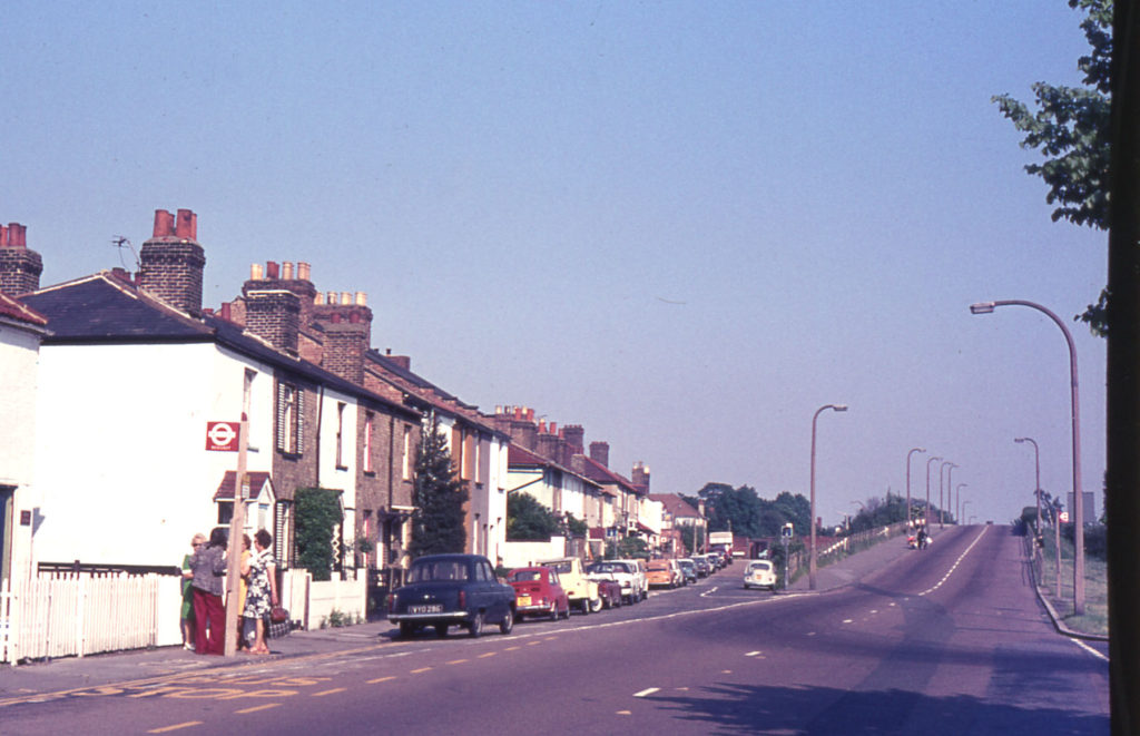 Commonside East, Mitcham, Surrey CR4. From Three Kings Pond. looking east towards Beehive Bridge.