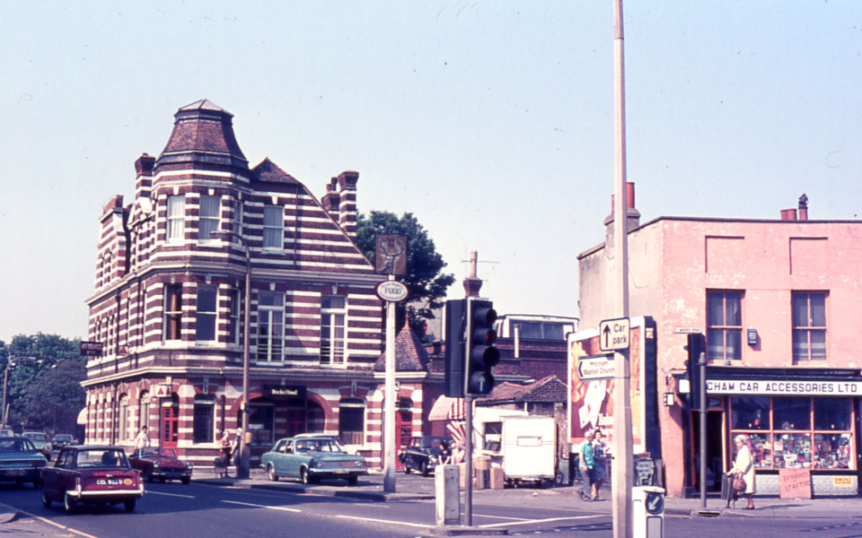The Bucks Head, Upper Green, Mitcham, Surrey CR4. Built c. 1885. replacing an earlier 18th century building. After aquisiition by Wetherspoons it reopened in December 1990 as the White Lion of Mortimer.