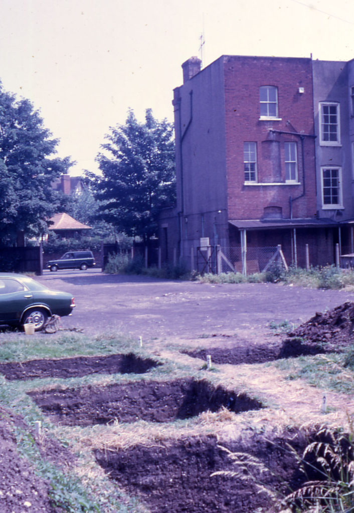 Rear of Durham House, Fair Green, Mitcham, Surrey CR4. Trenches dug by Merton Historical Society.