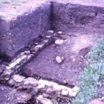 Durham House, Fair Green, Mitcham, Surrey CR4. 18th century privy base exposed by Merton Historical Society.
