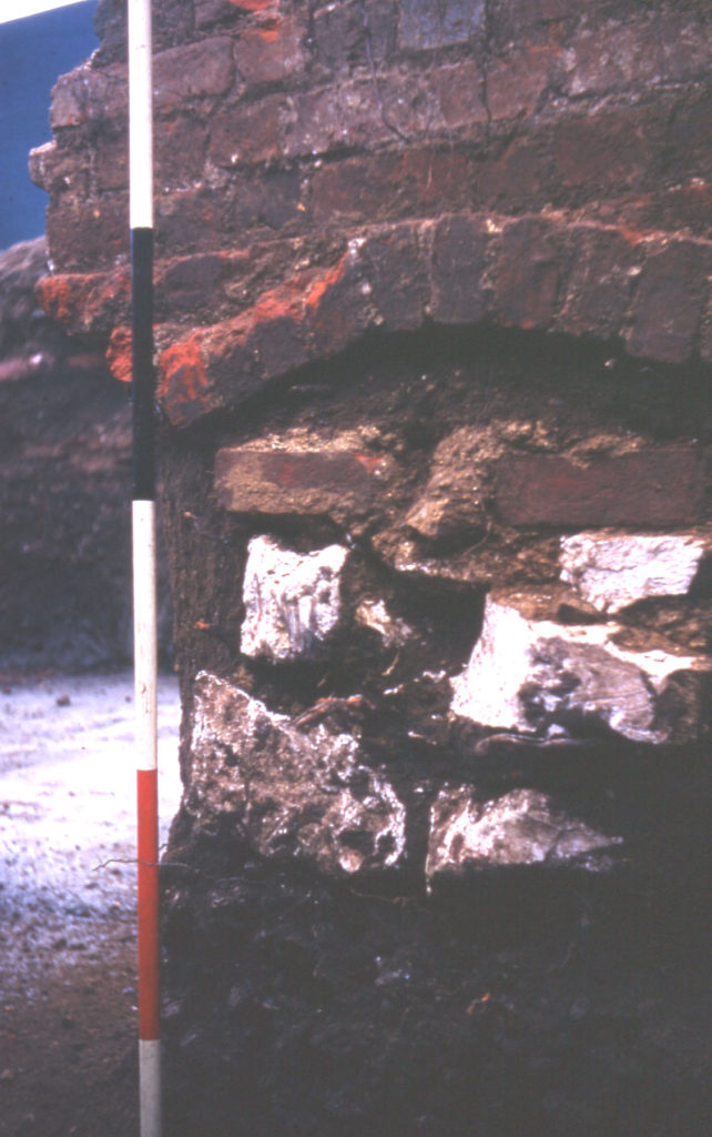 Durham house site, Upper Green, Mitcham, Surrey CR4. Chalk block wall and sandy layer. site of Mitcham House.