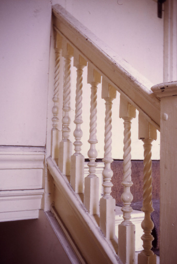 Durham house interior, Upper Green, Mitcham, Surrey CR4. Balusters to staircase from first to second floor