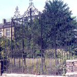 Gates of Eagle House, London Road, Mitcham, Surrey, CR4. Before restoration (late 1970s).