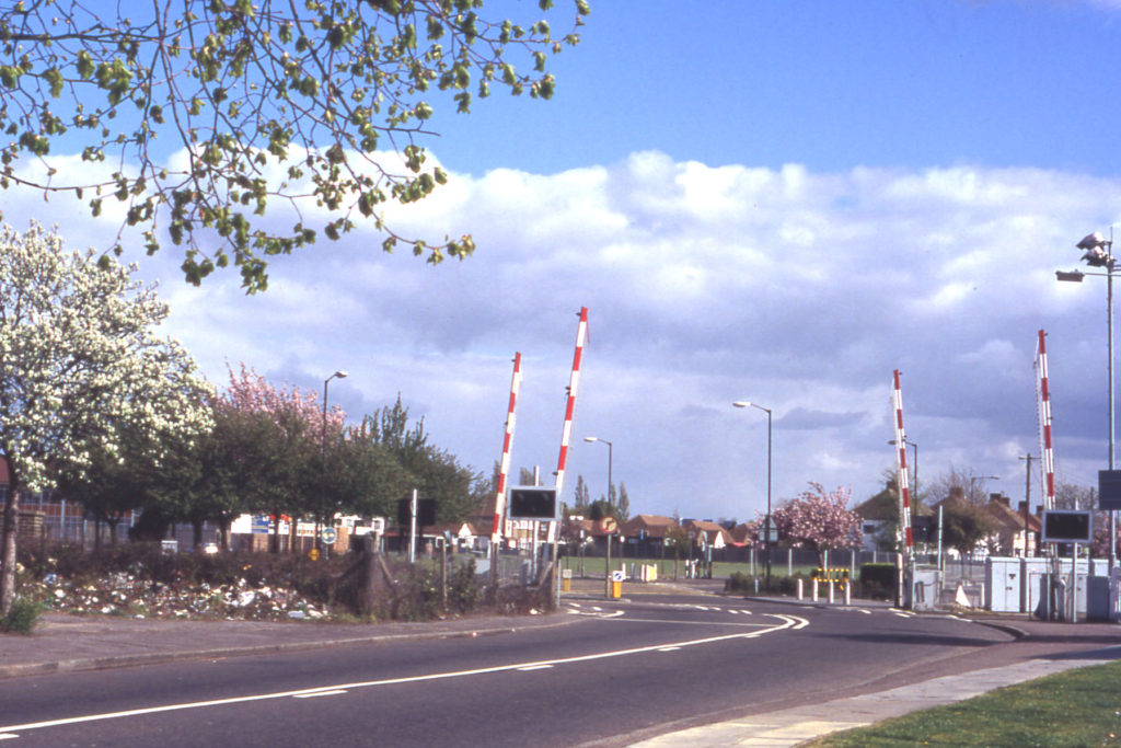 Eastfields crossing from Eastfields Road, Mitcham, Surrey, CR4.