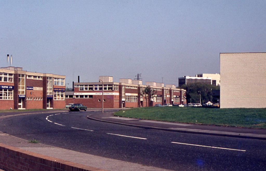 Wates Way, Willow Lane factory estate, Mitcham, Surrey CR4. Factories of the 1960s.