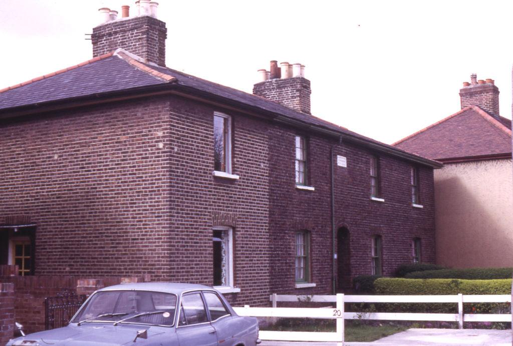 14-2 Love Lane (Laburnum Cottages), Mitcham, Surrey CR4. Built by W. F. in 1853.