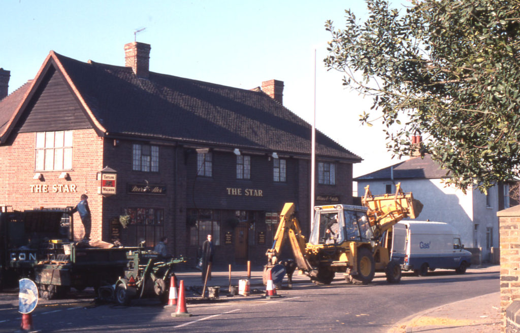 The Star Public House and road works, Church Road, Mitcham, Surrey CR4.