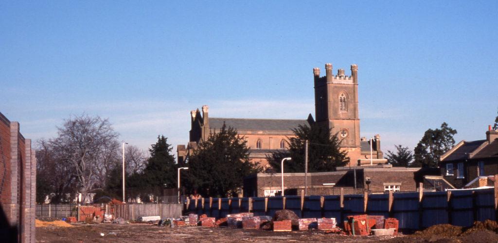 Site of Moffat Gardens, Mitcham, Surrey CR4. Church Road link under construction.