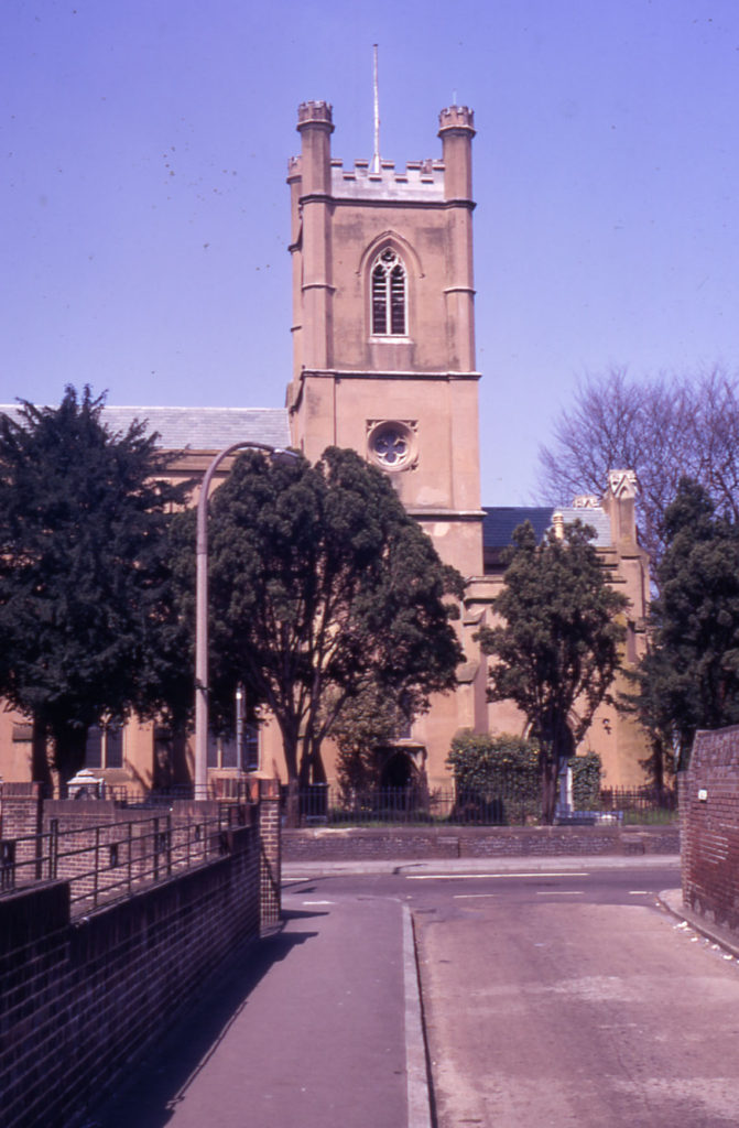 Mitcham Parish Church from Church Path, Mitcham, Surrey CR4.
