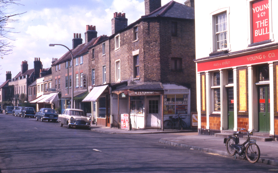 Nos. 34- Church Road, Mitcham, Surrey CR4. The Bull Inn on right.