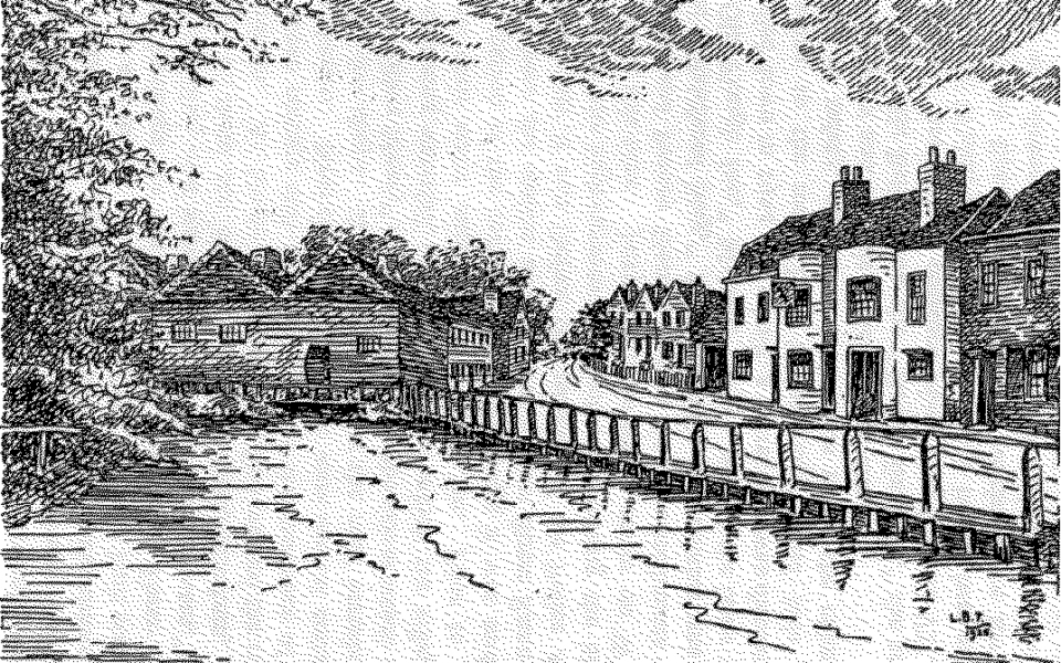 Engraving of the Copper Mills and King's Head, Merton, from W H Chamberlain 'Reminiscences of Old Merton', published 1925.