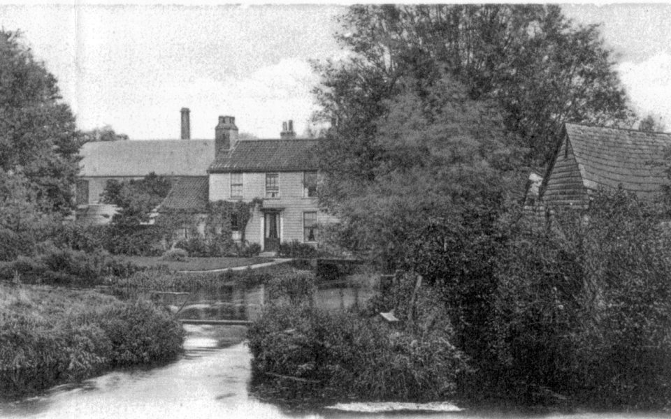 Crown Mill (left), Wandle Cottage (475 London Road), and Morden Snuff Mill (right) Mitcham. Undated postcard.
