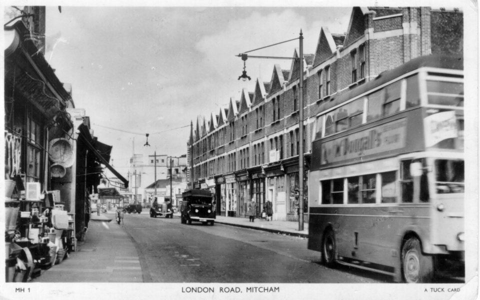 London Road, Mitcham. Undated Tuck postcard, early 1950s.