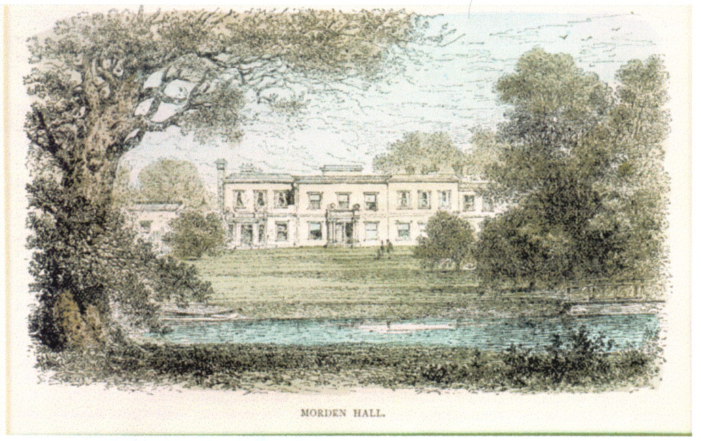 Morden Hall: Hand-tinted engraving published in Edward Walford's Greater London (1883).