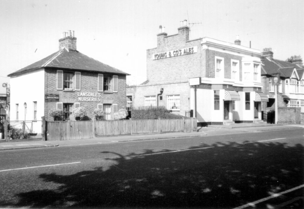 102-100 Morden Rd SW19. Lansdale's Nurseries and Prince of Wales public house (1970) WJR