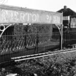 Merton Park station nameboard (1972) WJR