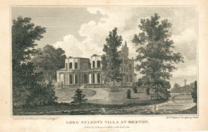 Engraving of 'Lord Nelson's Villa at Merton, Engraved by Amb. Warren from a Drawing by Gyford For Dr. Hughson's Description of London, Published by J. Stratford, 112, Holborn Hill March 1, 1806.'