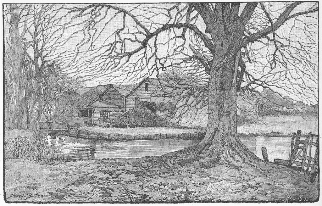 'Old Snuff Mill, Mitcham' from a drawing by Dewey-Bates, published May 1889, in The English Illustrated Magazine