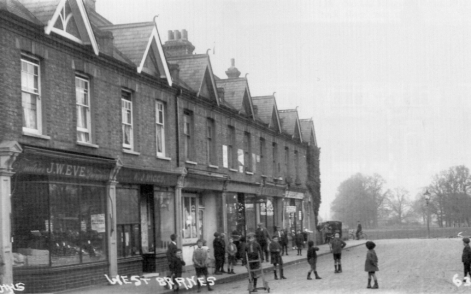 Shops in Seaforth Avenue, West Barnes, Merton. Edwardian postcard.