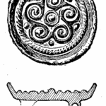 Anglo-Saxon Cemetery, Mitcham: gilt bronze brooch (from H F Bidder Surrey Archaeological Collections 21 (1908) p.13