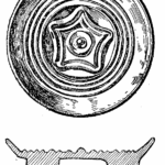 Anglo-Saxon Cemetery, Mitcham: gilt bronze brooch (from H F Bidder Surrey Archaeological Collections 21 (1908) p.5)