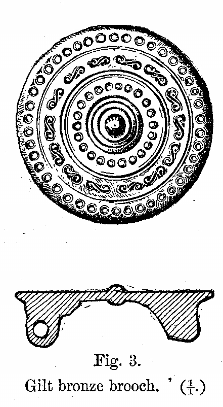 Anglo-Saxon Cemetery, Mitcham: gilt bronze brooch (from H F Bidder Surrey Archaeological Collections 21 (1908) p.6