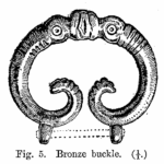 Anglo-Saxon Cemetery, Mitcham: bronze buckle (from H F Bidder Surrey Archaeological Collections 21 (1908) p.7