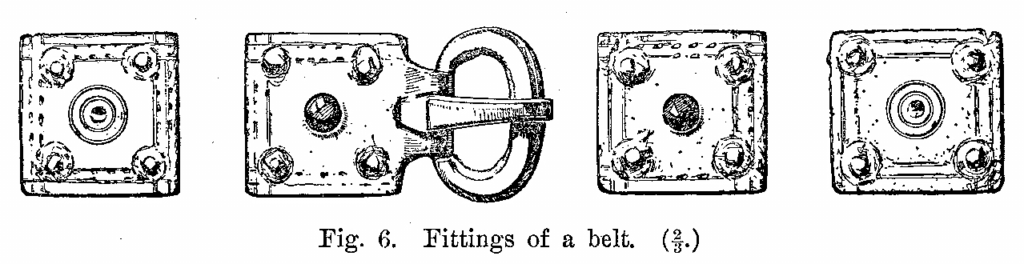 Anglo-Saxon Cemetery, Mitcham: Fittings of a belt (from H F Bidder Surrey Archaeological Collections 21 (1908) p.7