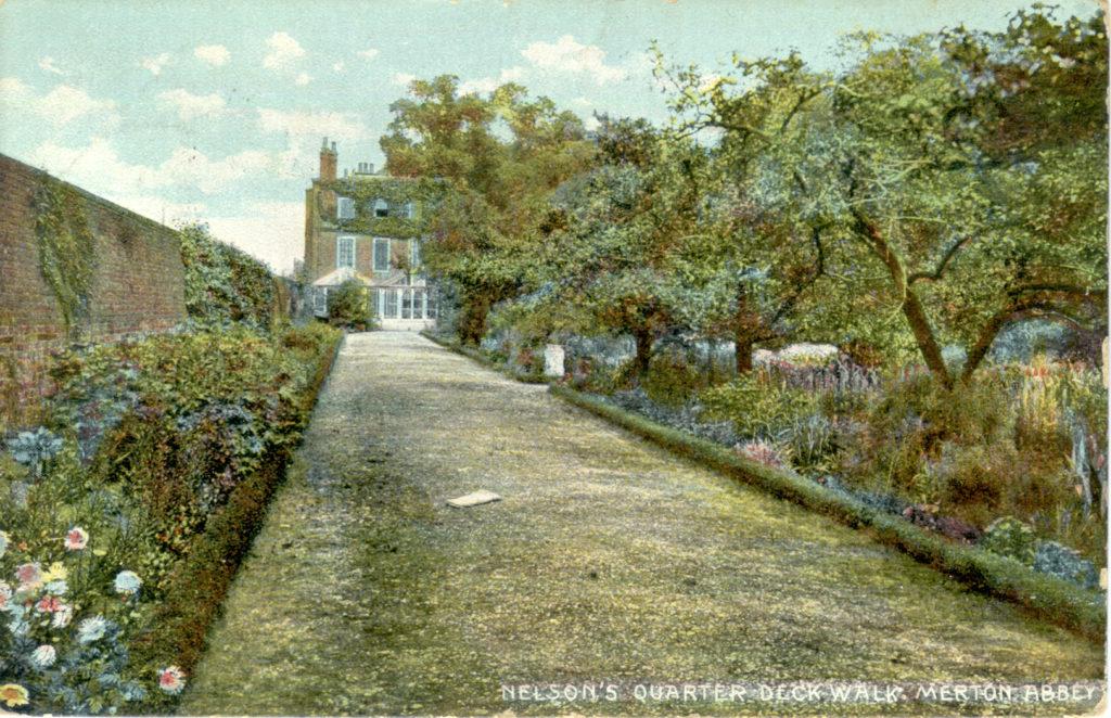 Not 'Nelson's Quarter Deck Walk' at Merton Place but a garden walk at Gate House, Merton Abbey. Postcard c.1909,