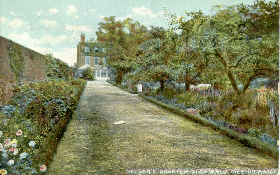 Not 'Nelson's Quarter Deck Walk' at Merton Place but a garden walk at Gate House, Merton Abbey. Postcard c.1909,