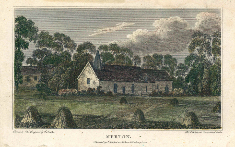 Merton Church, 'Merton Church, Drawn by Ellis & Engraved by F Haydon For Dr. Hughson's Description of London, Published by J. Stratford, 112, Holborn Hill June 7 1806.'