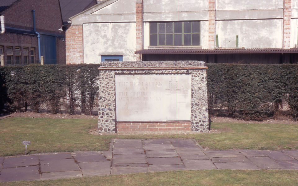 Commemorative stone erected on site of High Altar of Merton Priory (ENM) 1968