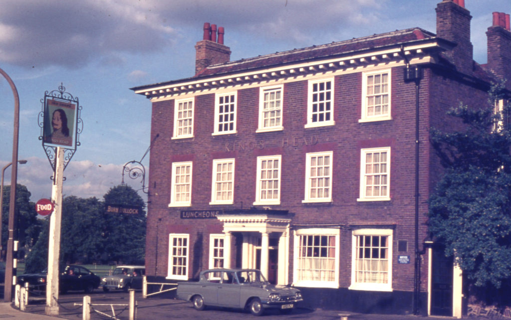 The Kings Head, 315 London Road, (at Mitcham Cricket Green), Mitcham, Surrey CR4. Looking east. In 1975 it was re-named Burn Bullock.