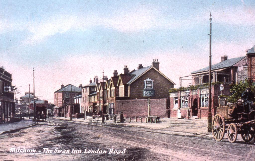 'Mitcham, The Swan Inn, London Road'. Postcard c.1905. Looking south.