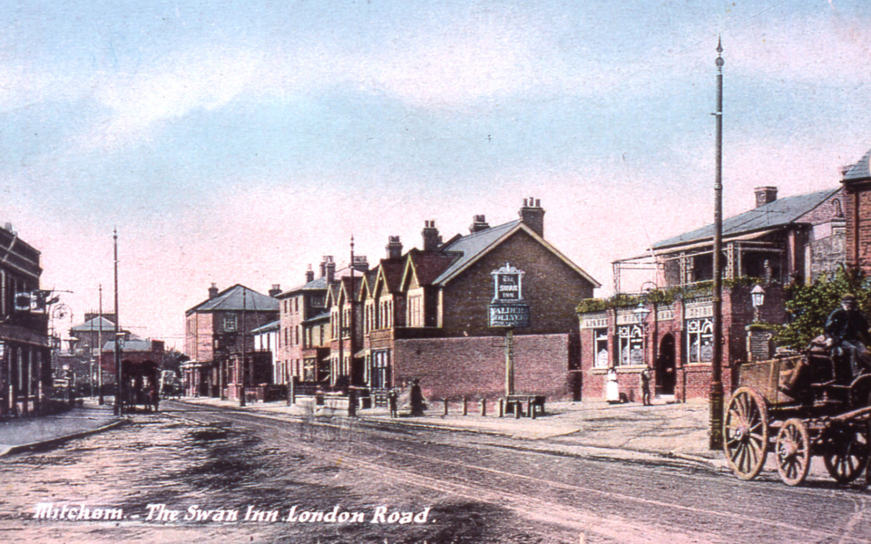 'Mitcham, The Swan Inn, London Road'. Postcard c.1905. Looking south.