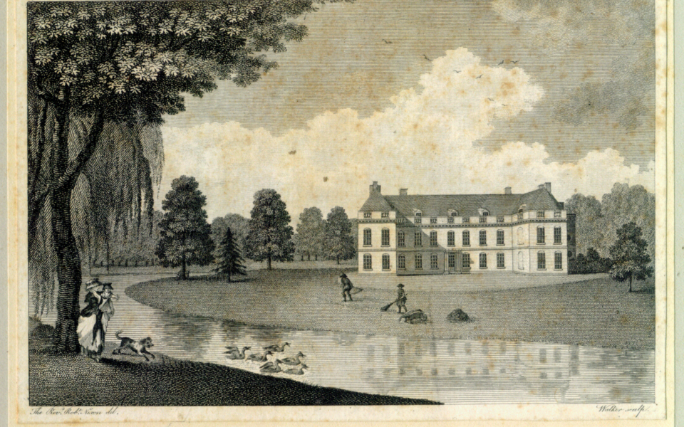 Engraving of Mitcham Grove. In pencil 'Mitcham Grove 1788'