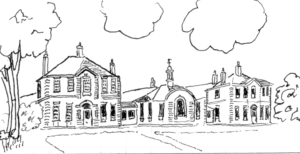 The Nelson Hospital: sketch, by Judith Goodman, based on the architect's drawing as published in the Wimbledon Borough News of 22 July 1911
