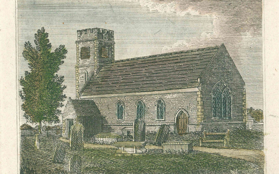 Hand-tinted engraving of St Lawrence Church, Morden.